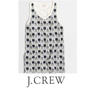 J. Crew Embroidered Navy White Tank